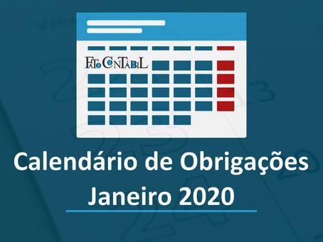 Calendário de Obrigações Janeiro 2020