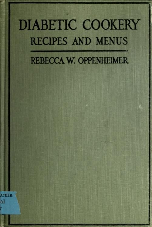 diabetic cookery rebecca w. oppenhimer