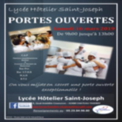 Affiche J.P.O mars 2019 Lycée hôtelier Château Thierry Aisne
