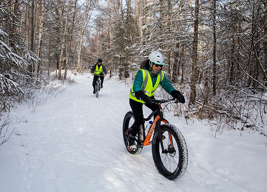 Winter biking on the trails at Campbell