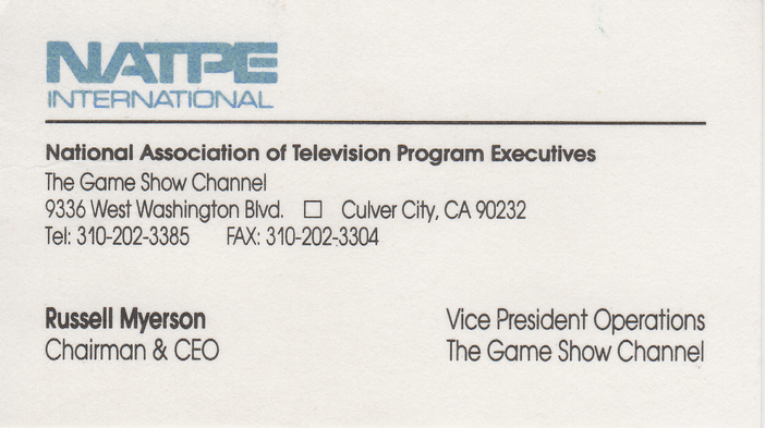 NATPE Business Card