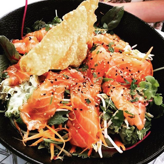 Salade saumon, soja, wasabi