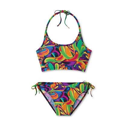 Teen Period Swimwear Tank Set   Watercolor Tropics