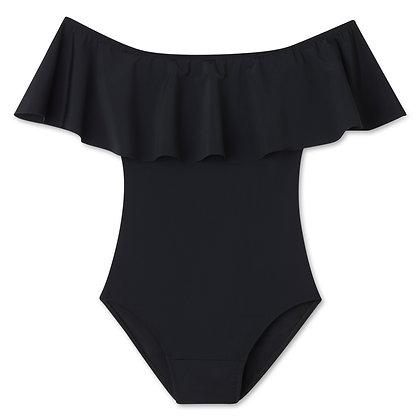 Period Swimwear Off Shoulder Ruffle (Black Sea)
