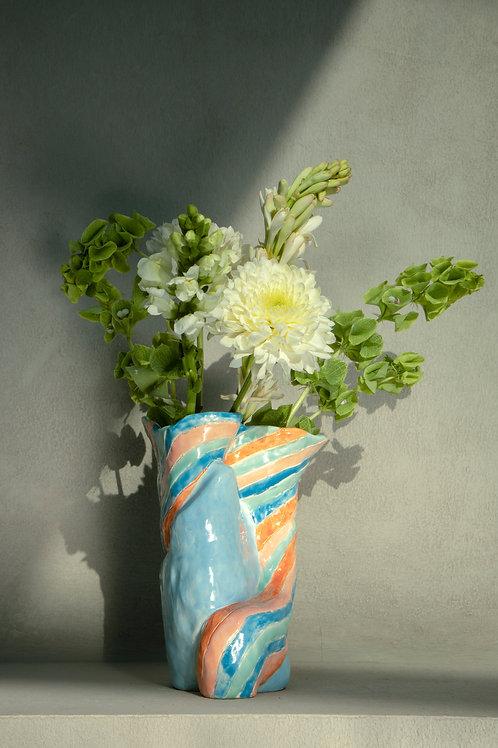 Florero rayas azul