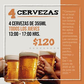 4 cervezas