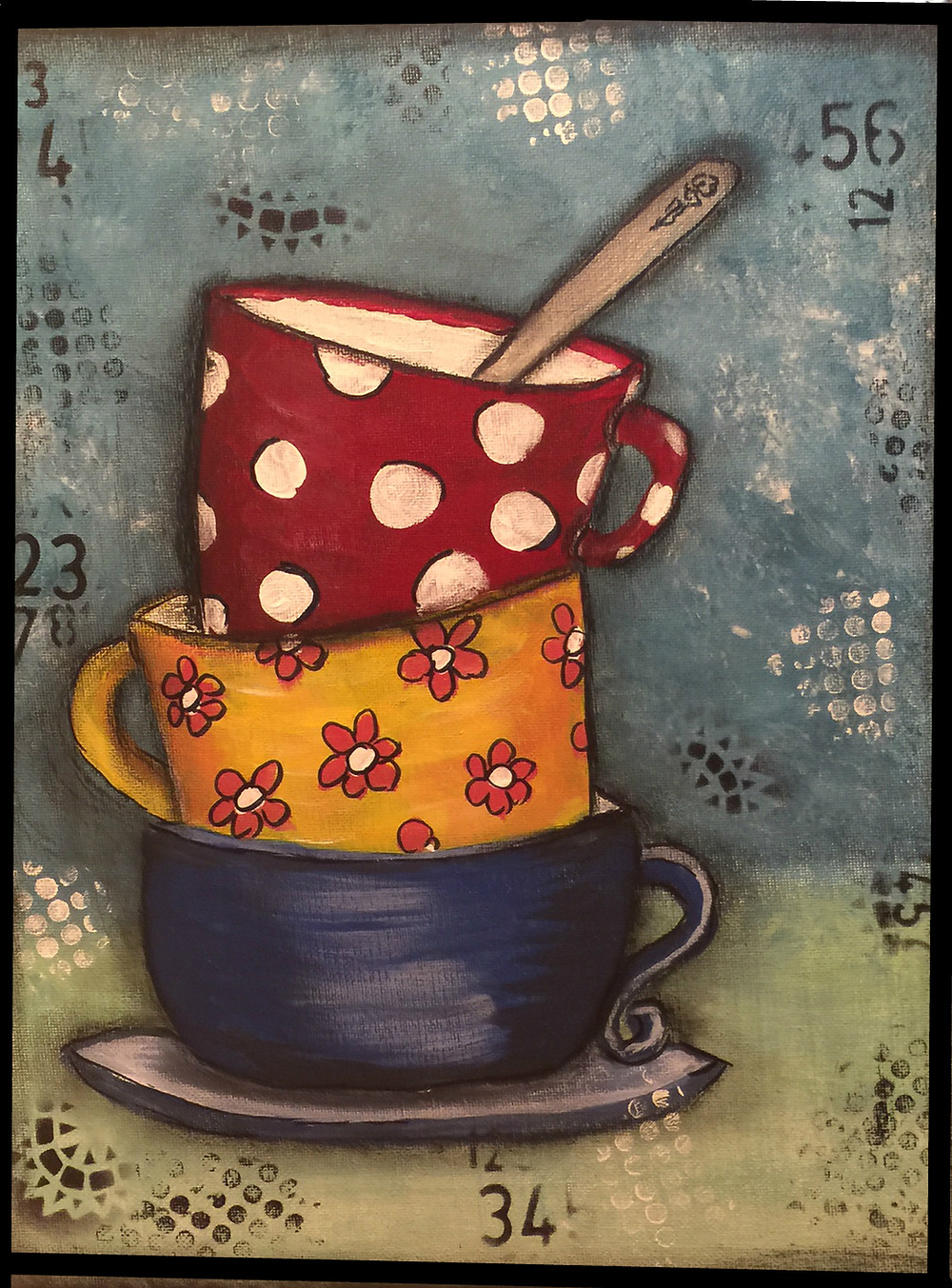 Tea Time-acrylic and stamping