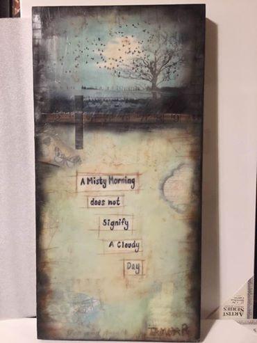 """Misty Morning"" my second encaustic piece"