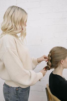 Heather VanHuss, Hermosa Beach Hair Stylist, blonde hair, red lipstick, dutch braid, cesca chair, vintage levi's, cream sweater
