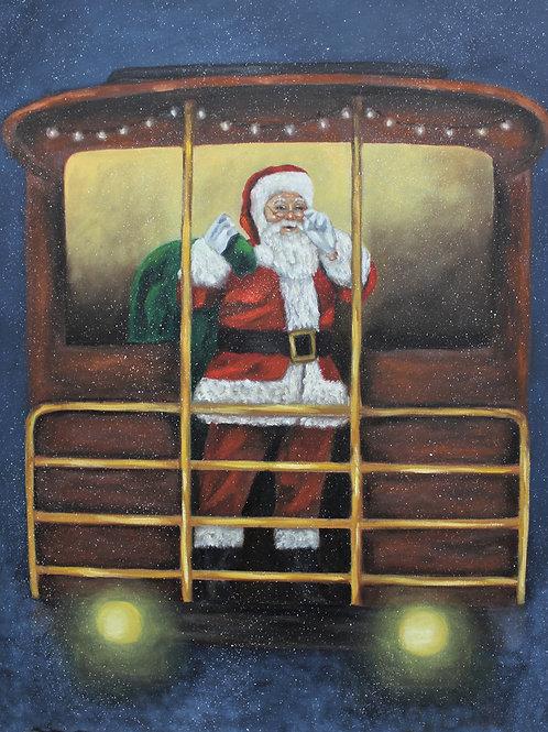 """Santa Express"" 16X20 oil on canvas"