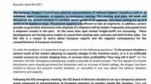 Presa di posizione da parte di European Shippers' Council in merito alla carenza di spazio nave