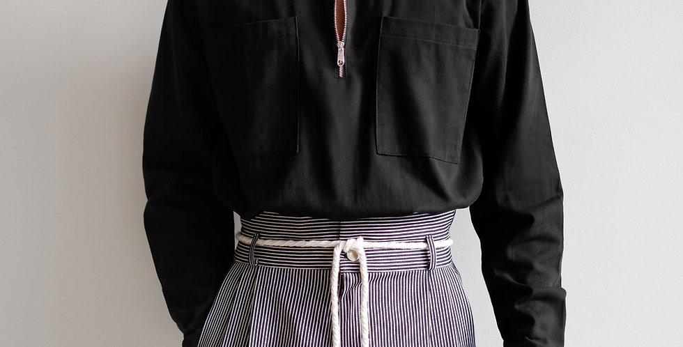 Half Zip Shirt Long Sleeves Black