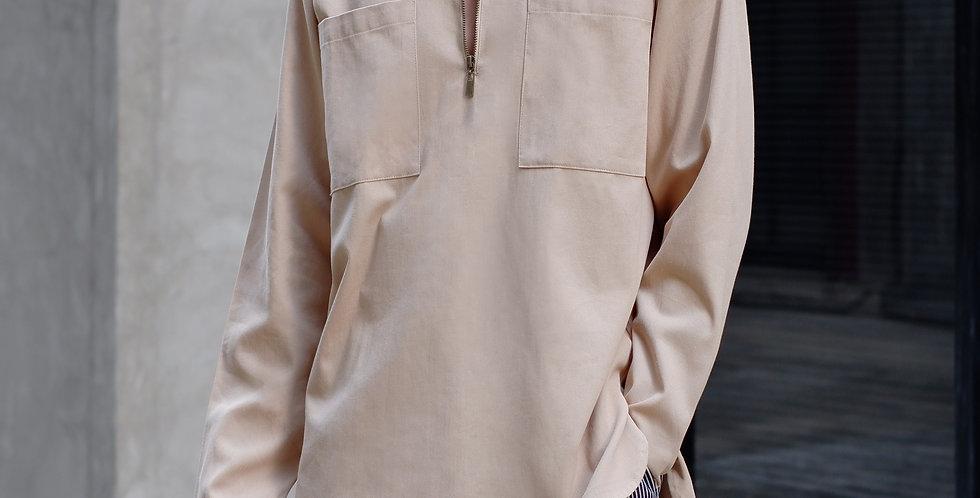 Half Zip Shirt Long Sleeves Khaki