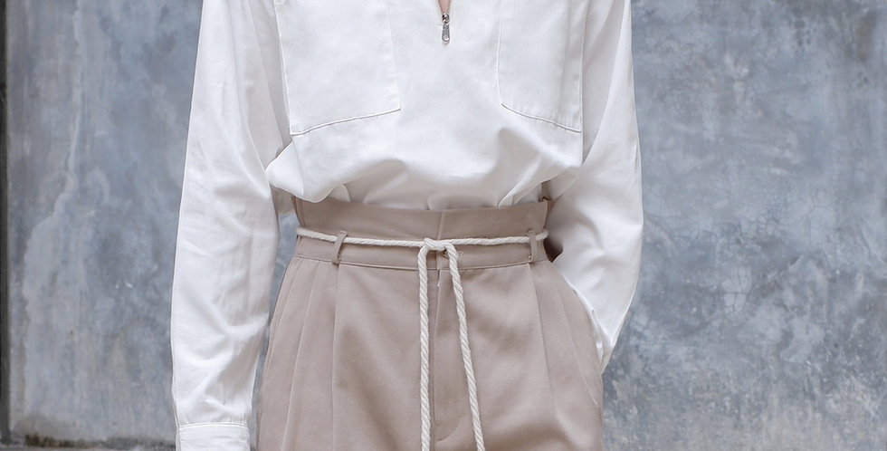 Half Zip Shirt Long Sleeves White