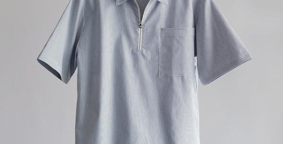 Half Zip Shirt Line Blue