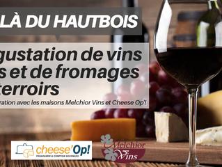 Vendredi 7 juin à 19h30 : Dégustation de vins bios et de fromages de terroirs