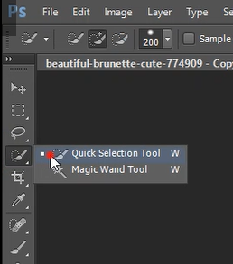 Quick selection tool in Photoshop