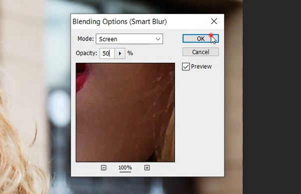Set smart blur in Photoshop