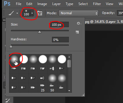 Select brush as soft round in Photoshop