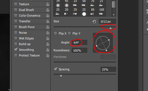 How to change size of brush and rotate it in Photoshop