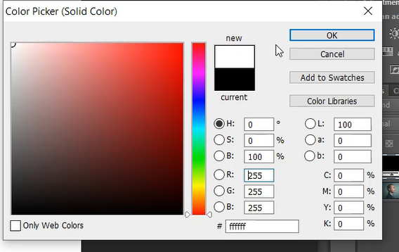 Setting solid color as White in Photoshop