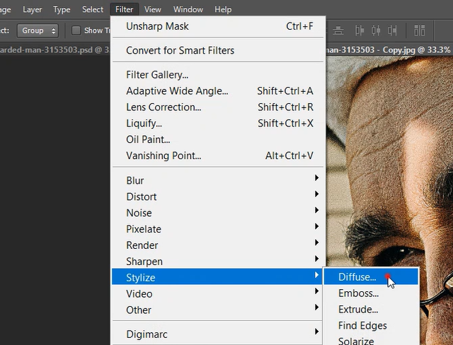 diffuse in photoshop
