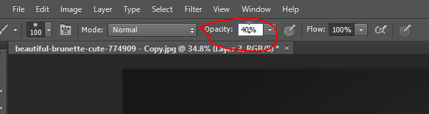 Setting opacity of brush in Photoshop