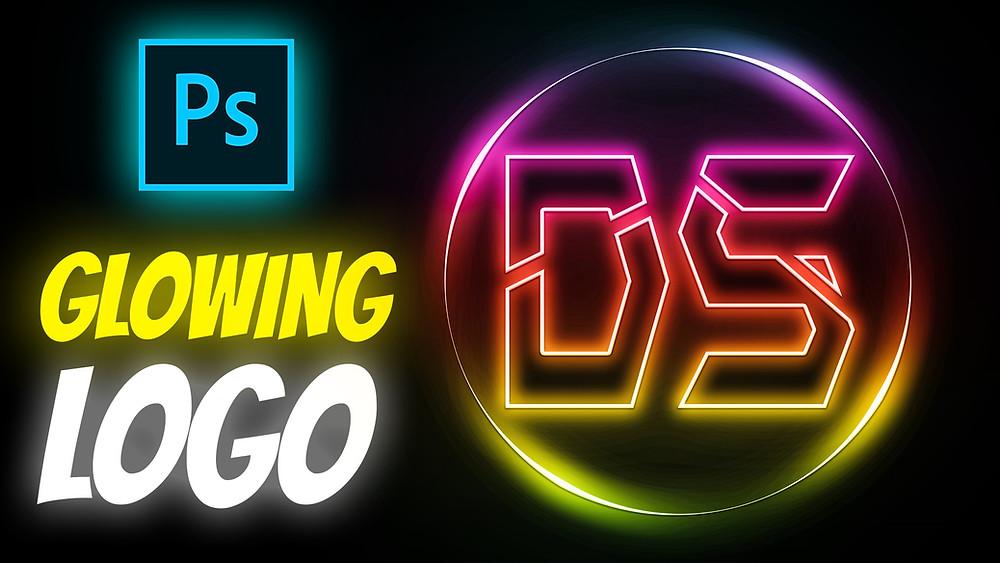 neon glowing logo design in photoshop
