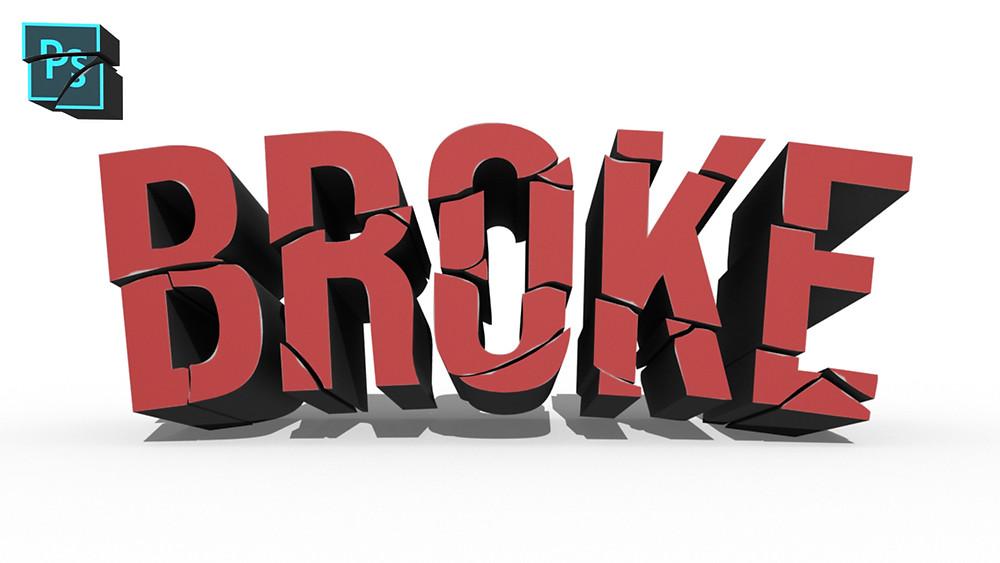 broken 3d text effect in photoshop