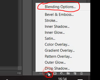 Blending options icon in Photoshop