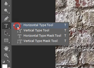 horizontal type tool photoshop