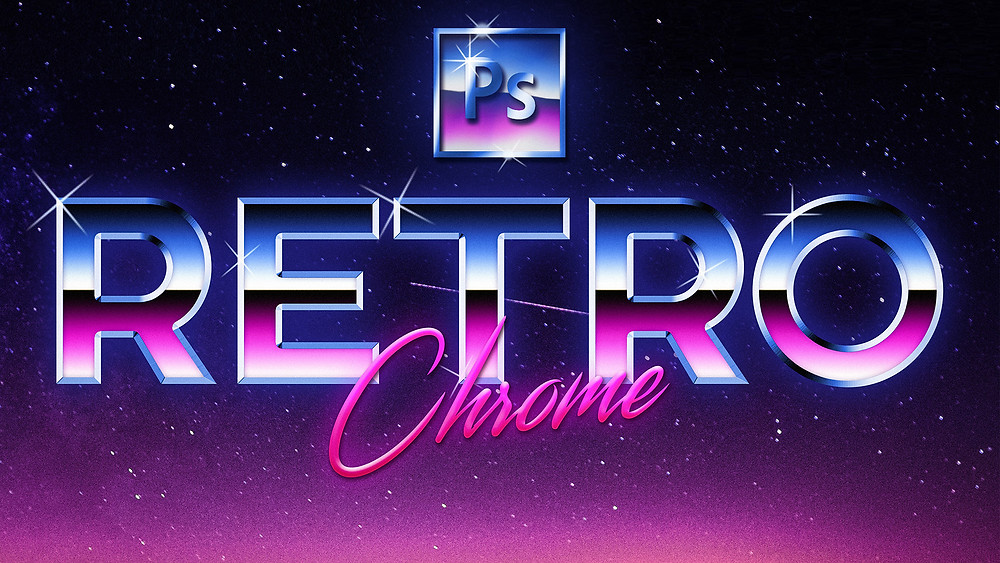how to create 80's retro style chrome text effect in photoshop