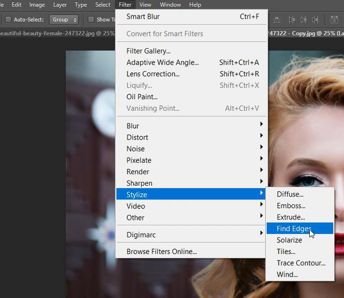 Find edges in Photoshop