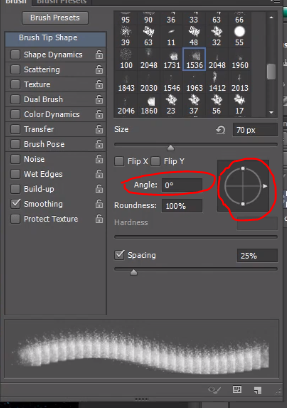 To change angle of brush in Photoshop