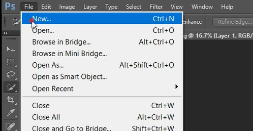 create new document in photoshop