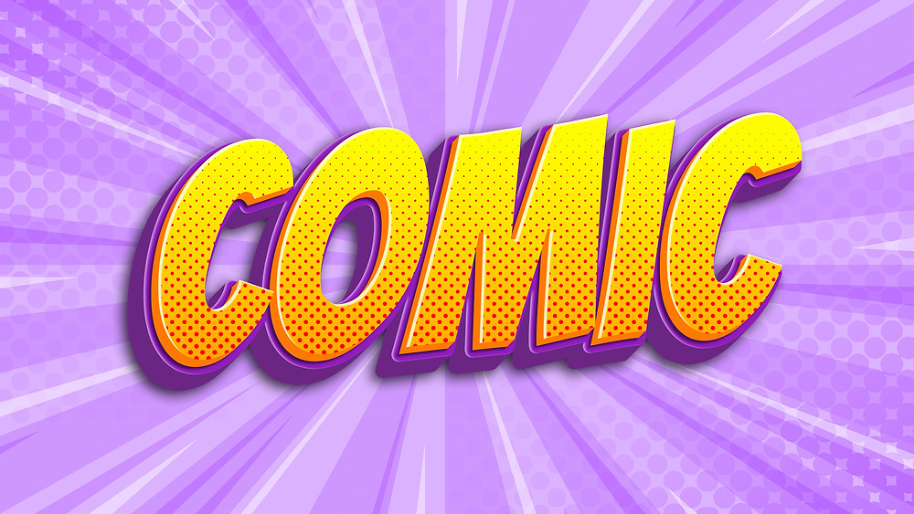 comic book cartoon 3d text effect