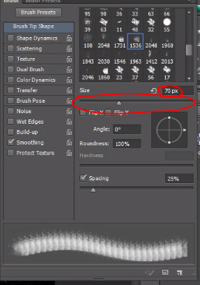 Slider to change size of brush in Photoshop