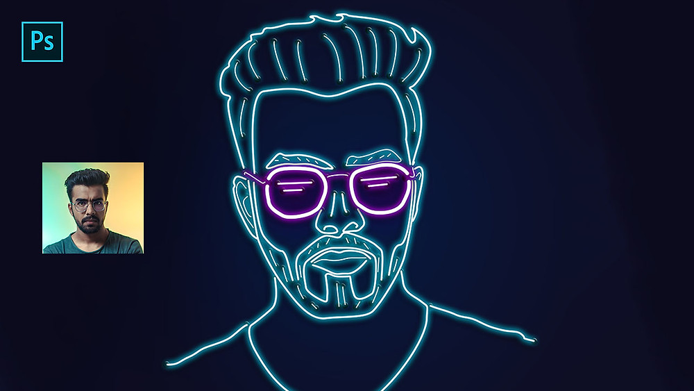 neon portrait illustration using pen tool in photoshop