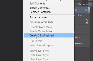 Selecting Create clipping mask icon in Photoshop
