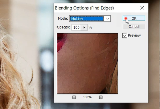 Find edge's blending options in Photoshop