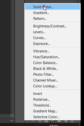 Select solid color from Create new fill or adjustment layer in Photoshop