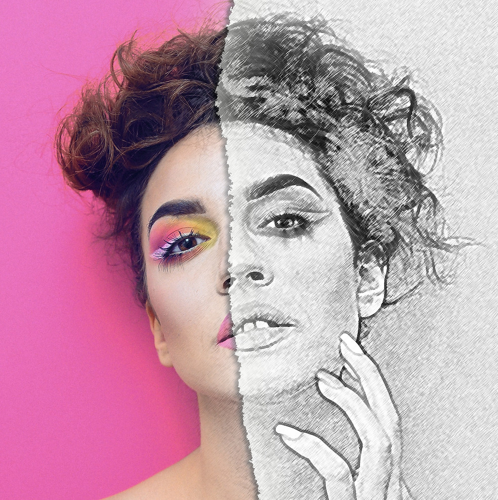 Half sketch effect in Photoshop | Photoshop effect | Photoshop tutorial