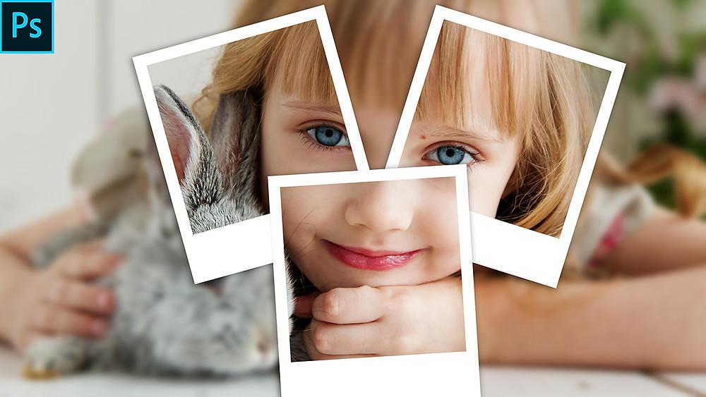 Polaroid photo collage effect photoshop