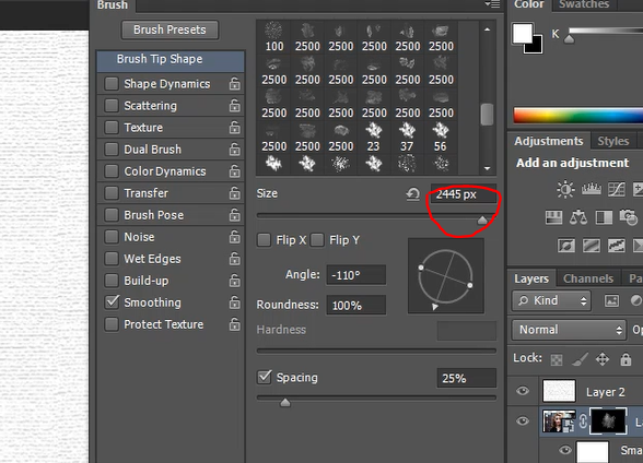 how to change size of brush in photoshop