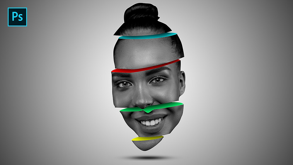 sliced face color effect in photoshop