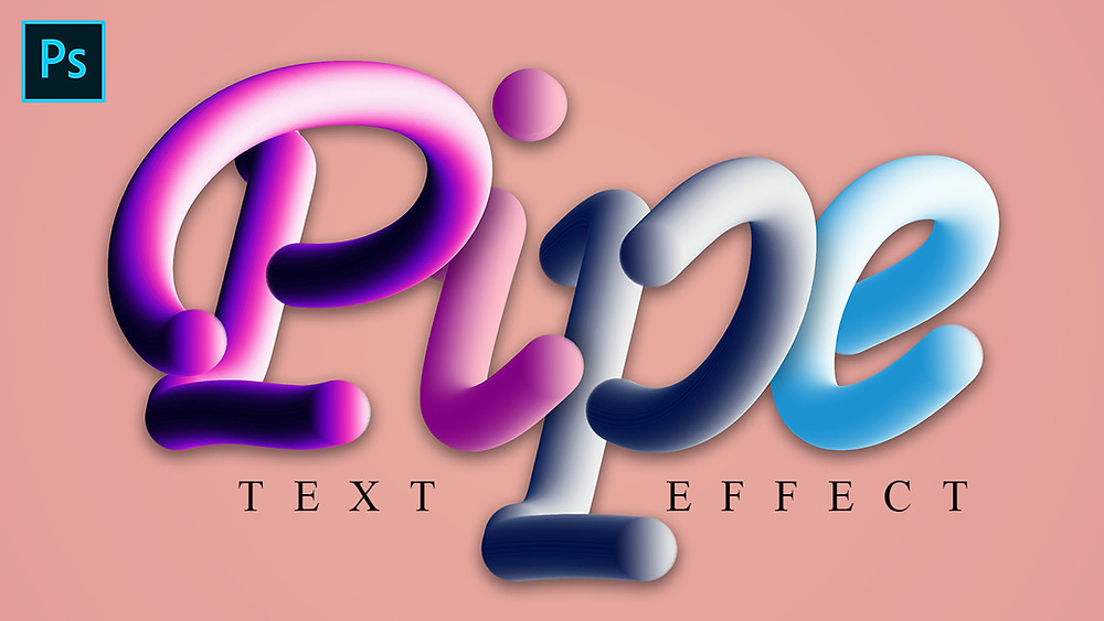 pipe 3d text effect in photoshop
