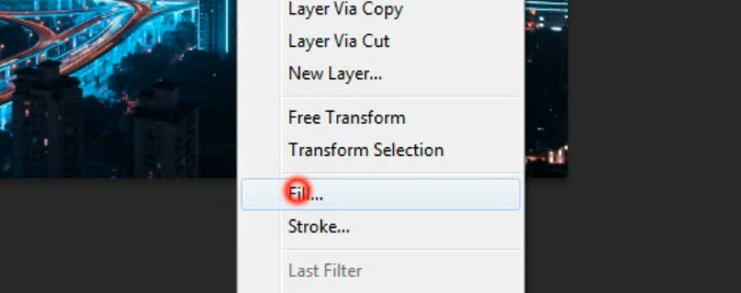 Fill selection in photoshop