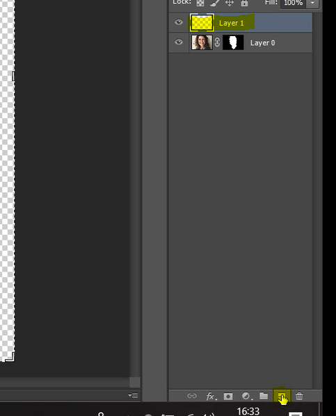 Create new layer icon in Photoshop
