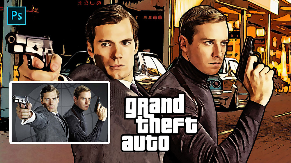 grand theft auto (GTA) style cartoon effect in photoshop
