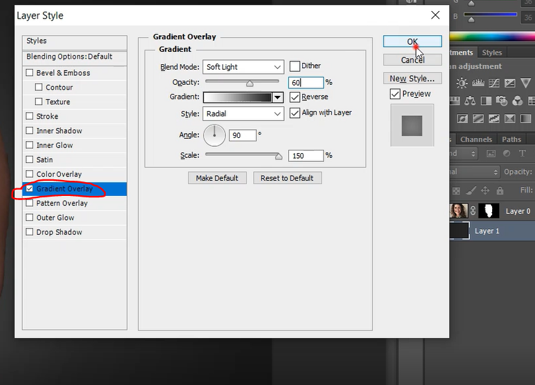 Gradient overlay settings in Photoshop